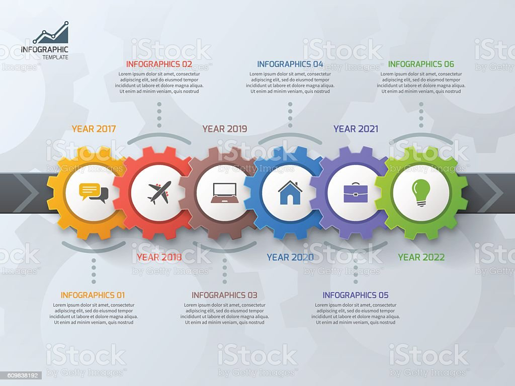 Timeline business infographic template with 6 steps vector art illustration