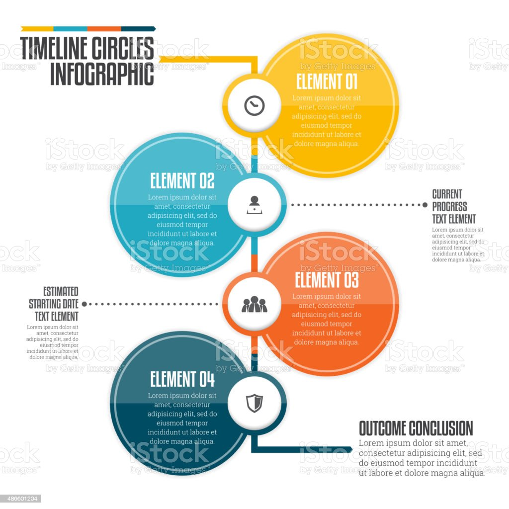 Timeline Circles Infographic vector art illustration