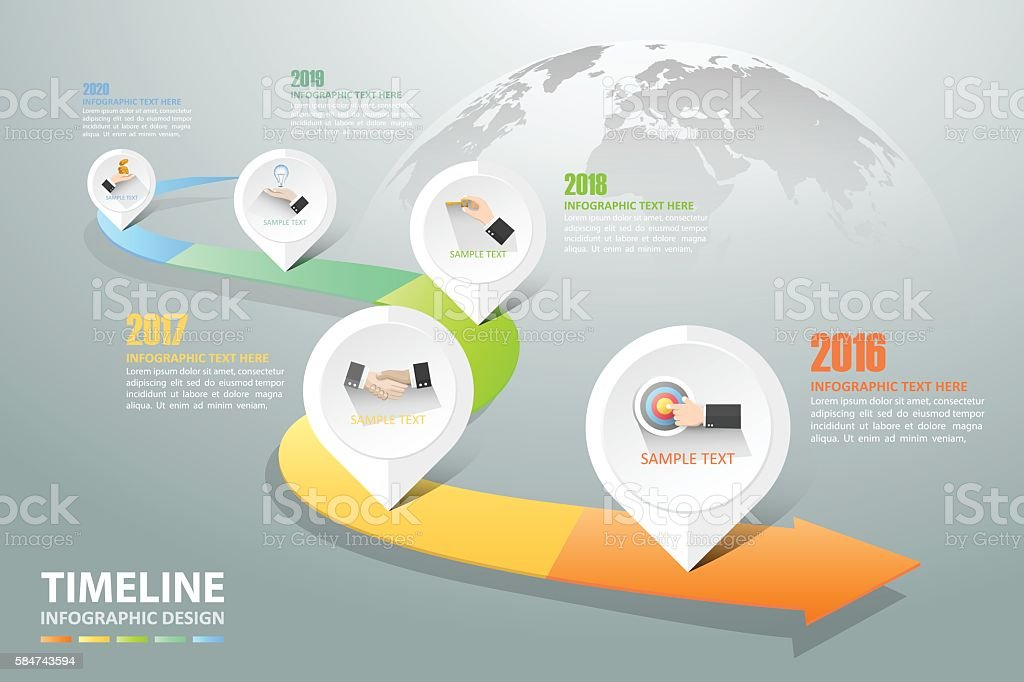 Timeline infographic 5 options,  Business concept infographic royalty-free stock vector art