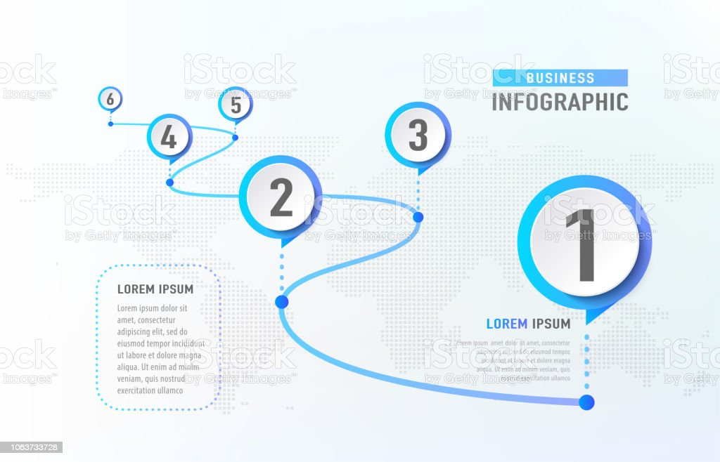 Timeline infographic 6 milestone like a road. Business concept infographic template. Vector illustration royalty-free timeline infographic 6 milestone like a road business concept infographic template vector illustration stock illustration - download image now