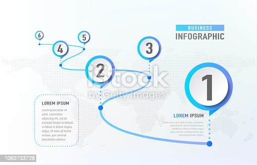 istock Timeline infographic 6 milestone like a road. Business concept infographic template. Vector illustration 1063733728