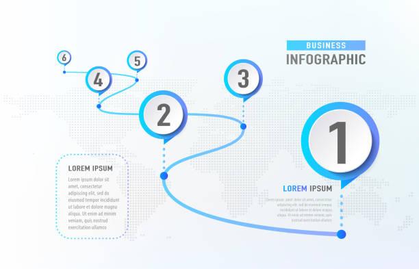 infografika osi czasu 6 kamień milowy jak droga. szablon infografiki koncepcji biznesowej. ilustracja wektorowa - postęp stock illustrations
