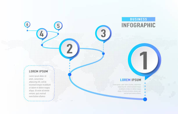 timeline infographic 6 milestone like a road. business concept infographic template. vector illustration - postęp stock illustrations