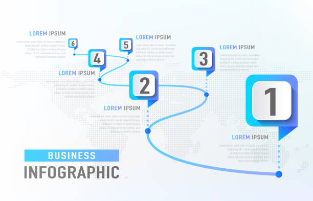 timeline infographic 6 milestone like a road. business concept infographic template. vector illustration - wielokrotny obraz stock illustrations