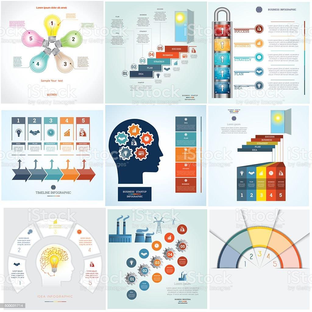 Zeitleiste Infografik 9-Vorlagen fünf position – Vektorgrafik