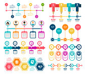 Vector illustration of the timeline infographic elements.