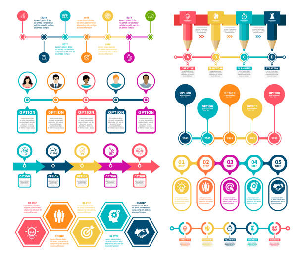 ilustraciones, imágenes clip art, dibujos animados e iconos de stock de elementos de infografía de la línea de tiempo - infografías para diagramas de flujo