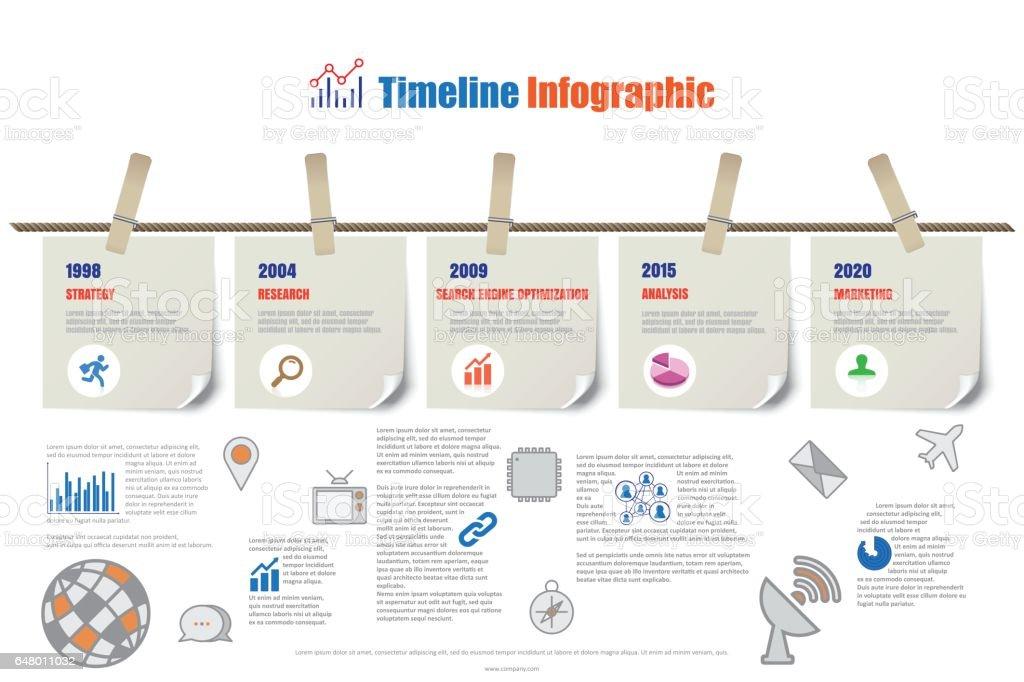 Plantilla De Informe De Timeline Infographic Colgando De Una Cuerda ...
