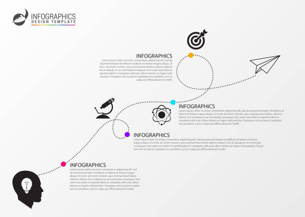 timeline infographic template. business concept eith icons - timeline infographics stock illustrations, clip art, cartoons, & icons