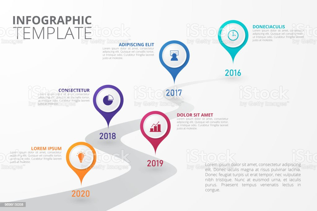 timeline infographic template for business education web design