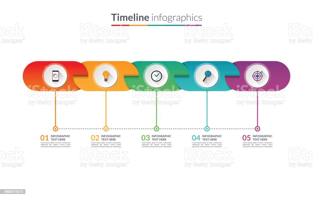 Timeline Infographic Template Of Rounded Elements Vector Banner - Free timeline infographic template