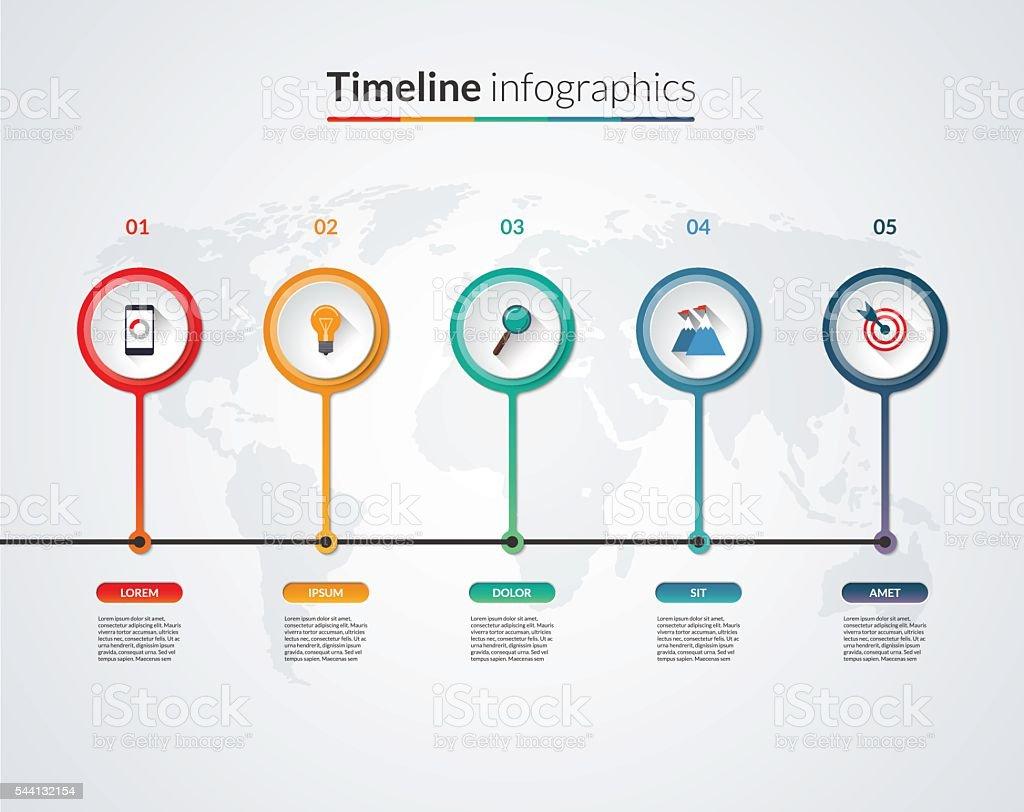 Zeitleiste Infografik Template Vektorbanner Mit 5 Kreise Riegel Und ...