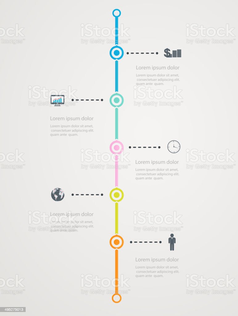 Timeline Infographic with business icons, step  structure to success vector art illustration