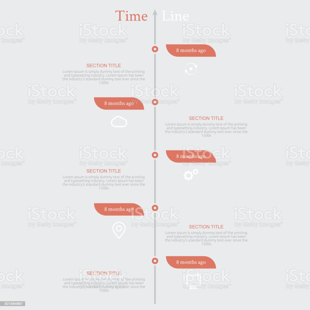 Timeline infographic with diagram and text vector art illustration