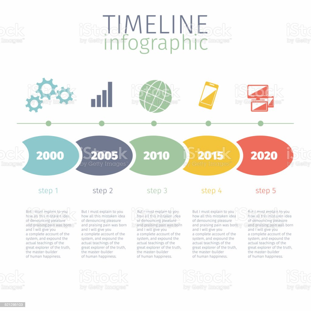 Timeline Infographic With Diagram And Text Stock Vector ...