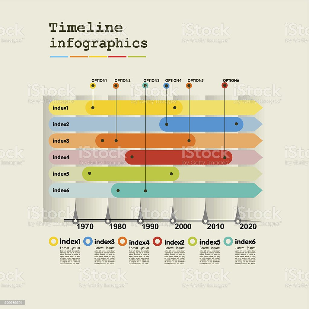 Timeline Infographic with diagrams and graphics in flat design style vector art illustration