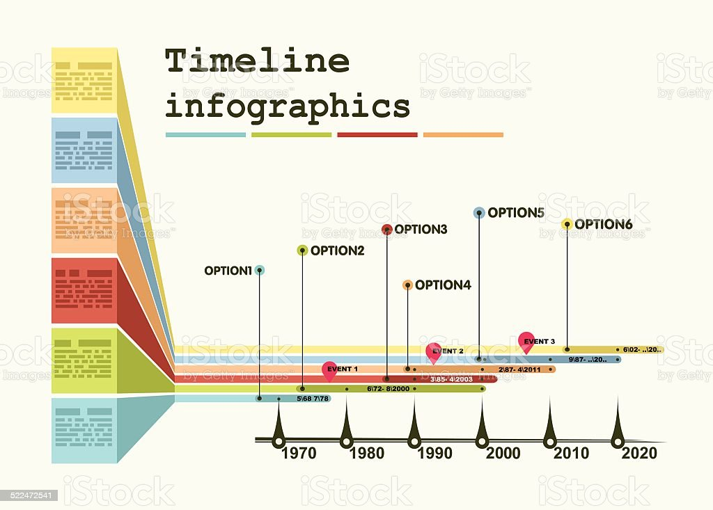 Timeline Infographic with diagrams and graphics vector art illustration