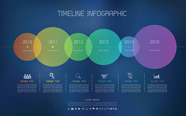 Timeline infographic with icons set for business concept vector art illustration