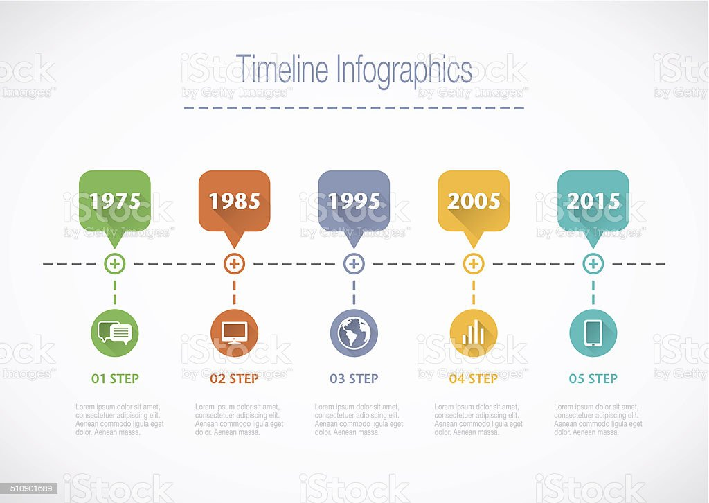 Timeline Infographic with pointers vector art illustration