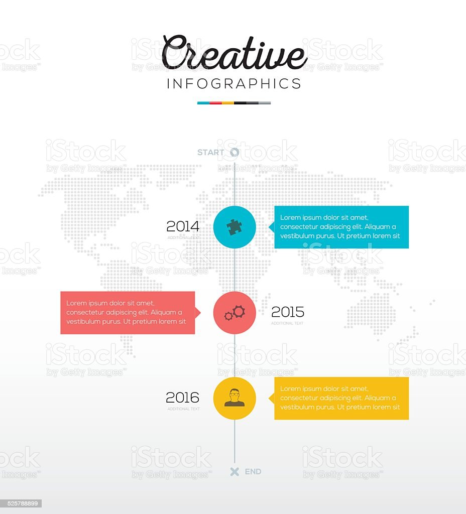 Timeline infographic with three options in flat business colors vector art illustration