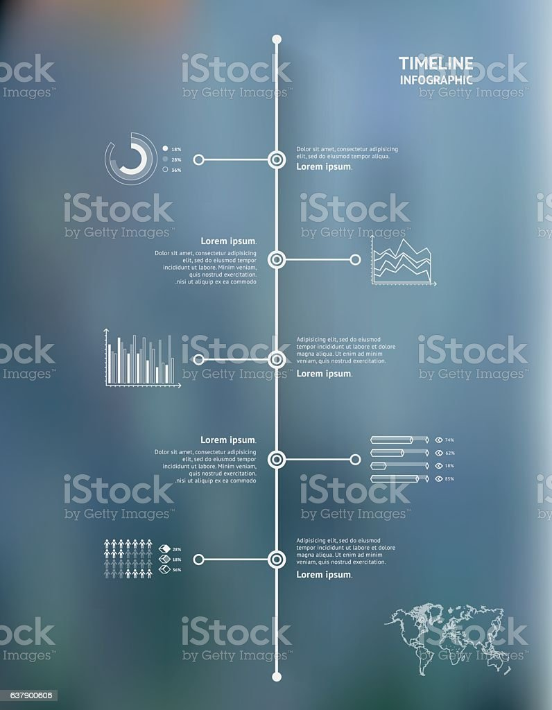 Timeline infographic with unfocused background and icons set. World map vector art illustration