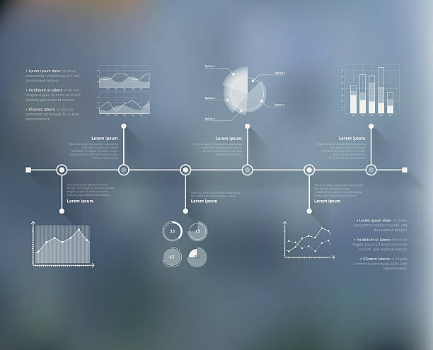 timeline infographic with unfocused background and icons set. world map - zeitleisten infografiken stock-grafiken, -clipart, -cartoons und -symbole