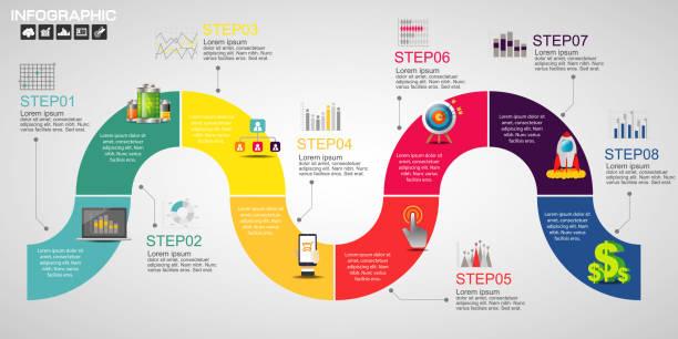 옵션, 프로세스 다이어그램, 벡터 eps10 일러스트와 함께 타임 라인 인포 그래픽 디자인 서식 파일 - timeline stock illustrations