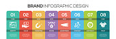 Timeline infographics design vector with icons, can be used for workflow layout, diagram, annual report, and web design. BRAND concept with 8 options, steps or processes.