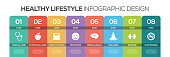Timeline infographics design vector with icons, can be used for workflow layout, diagram, annual report, and web design. HEALTHY LIFESTYLE Concept with 8 options, steps or processes.