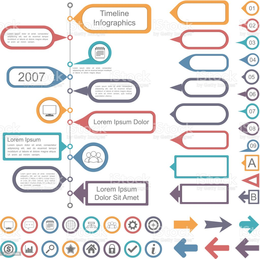 Timeline Infographics Elements Collection vector art illustration