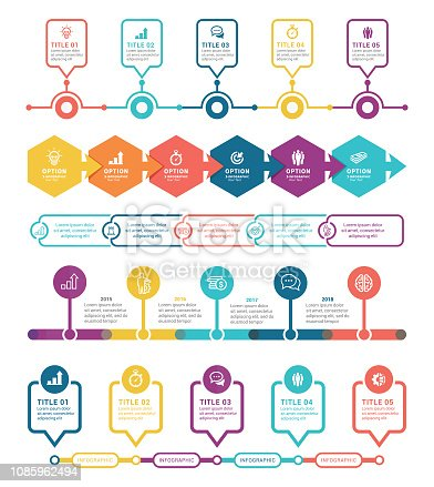 Vector illustration of the timeline infographics elements in colors
