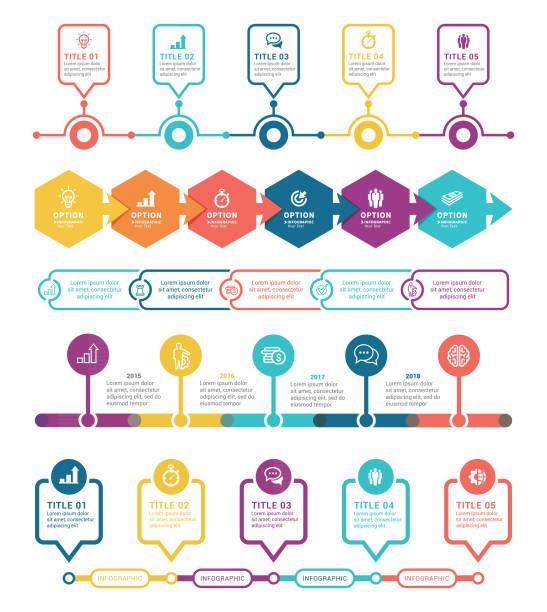 Timeline Infographics Elements vector art illustration