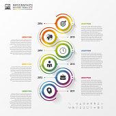 Timeline infographics template. Colorful modern design. Vector