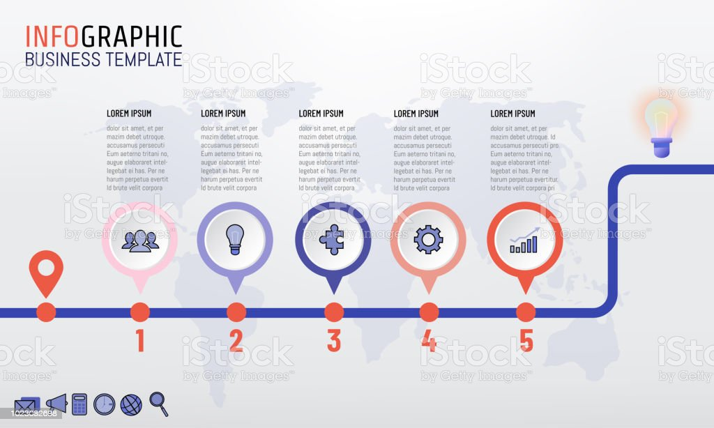 timeline infographics template design with 5 steps processes