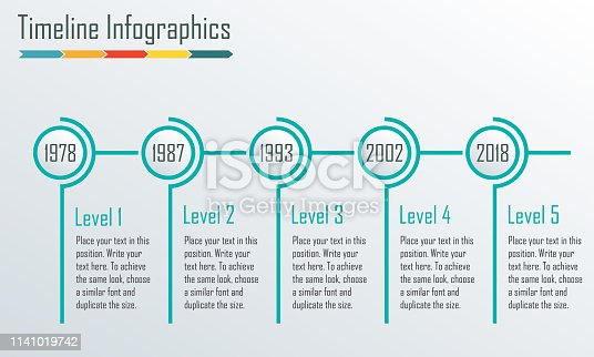 Timeline Infographics template. Horizontal design elements. Vector illustration.