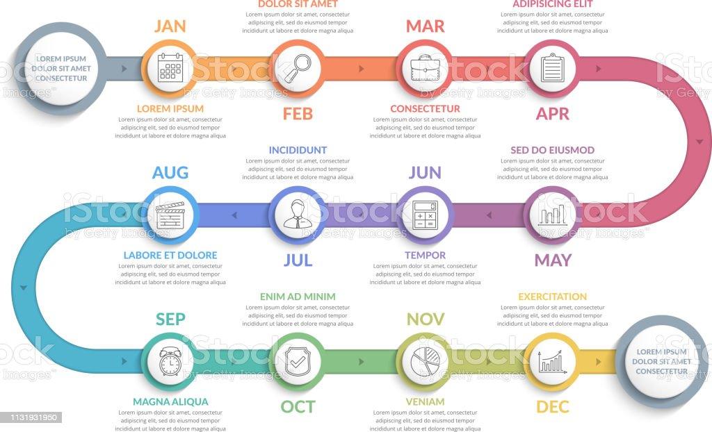 Infográficos da linha do tempo - Vetor de A Data royalty-free