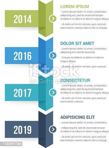 Vertical timeline infographics template with four arrows, vector eps10 illustration