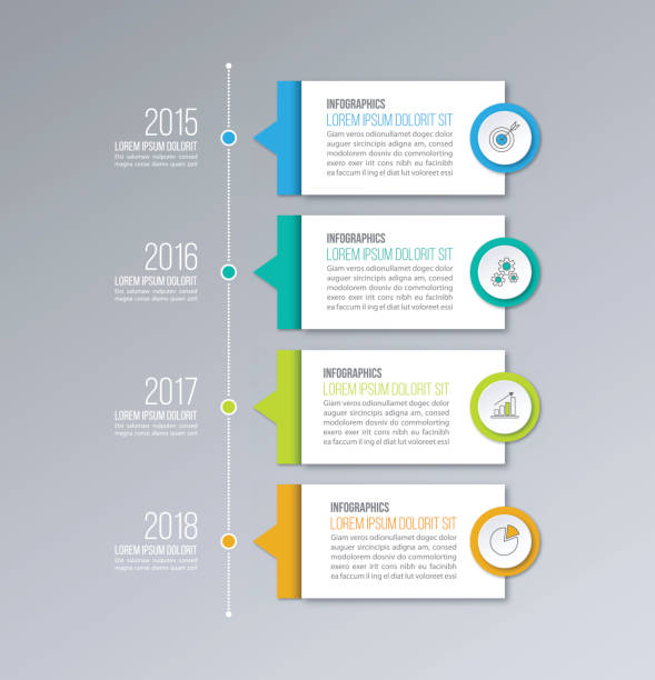 timeline infographics vector template. business concept for diagrams, graphs, web design. - infographics stock illustrations, clip art, cartoons, & icons