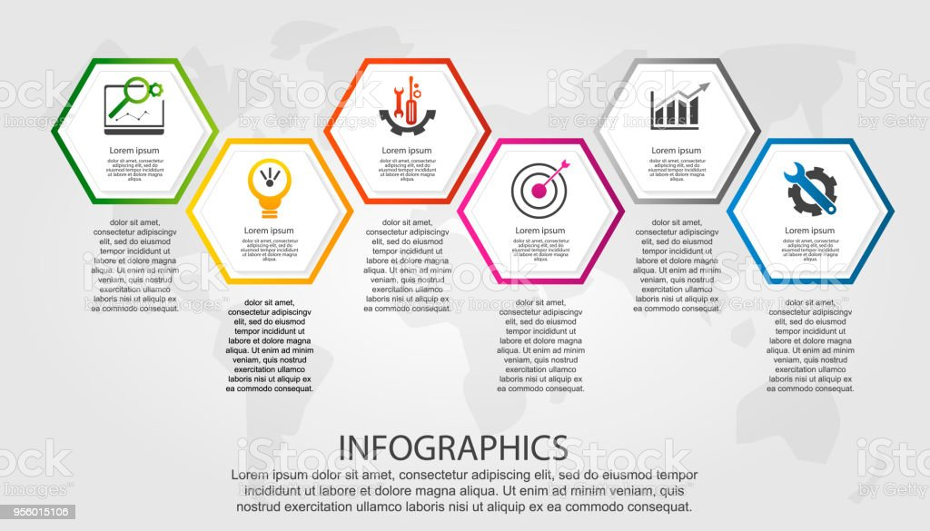Timelinemoderne Vektorillustration 3d Infografikvorlage Mit Sechs ...
