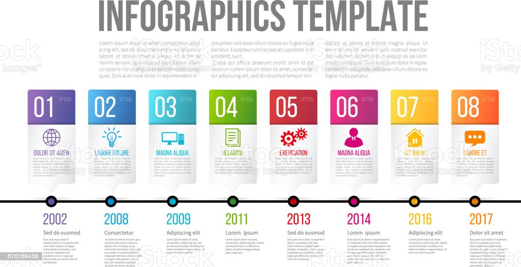 Timeline or options infographics template with 8 steps vector art illustration