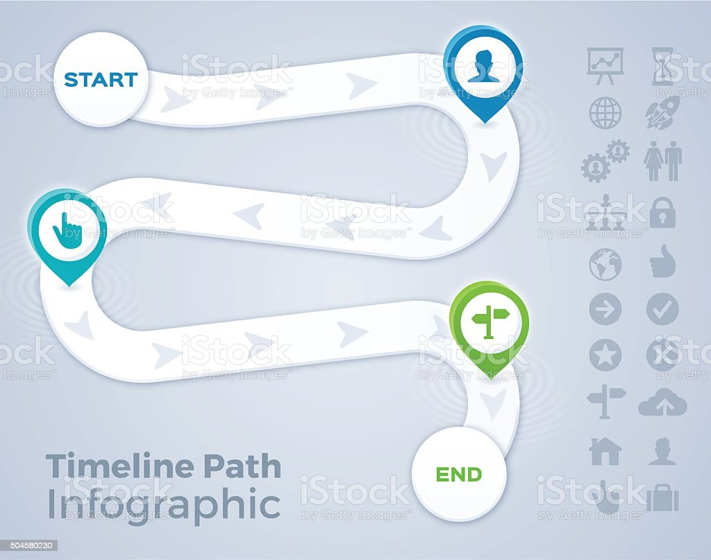 Timeline Path Infographic向量藝術插圖