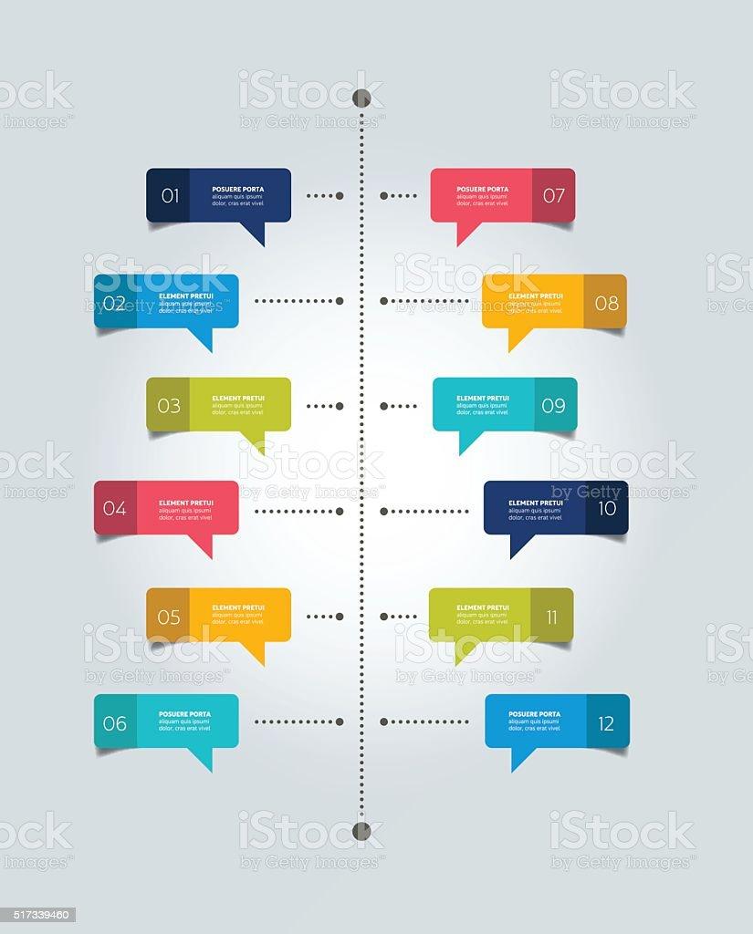 Timeline report template. Color shadow scheme, diagram. Vertical design. vector art illustration