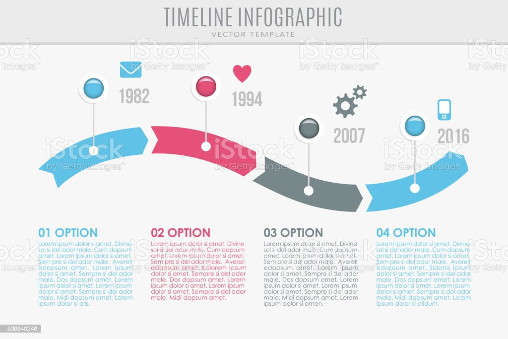Timeline report template with buttons and icons, vector vector art illustration