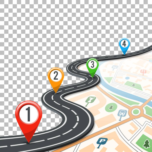 timeline road infographics with pin pointers - road trip stock illustrations