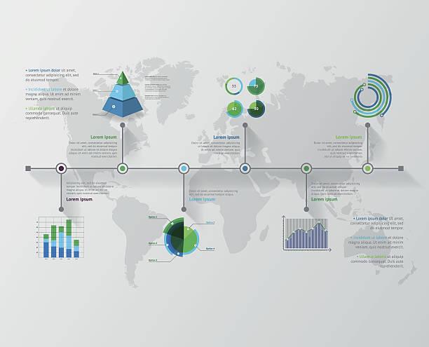 スケジュールベクトルインフォグラフィックます。 世界マップ  - 人口統計のインフォグラフィック点のイラスト素材/クリップアート素材/マンガ素材/アイコン素材