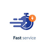 Timely service, fast delivery, time period, stopwatch in motion, vector icon