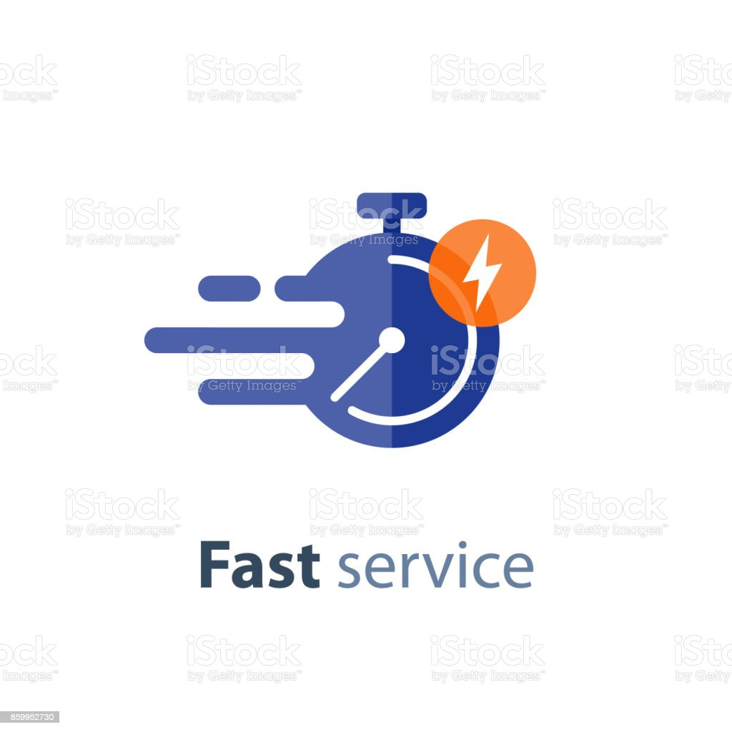 Timely service, fast delivery, time period, stopwatch in motion, vector icon vector art illustration