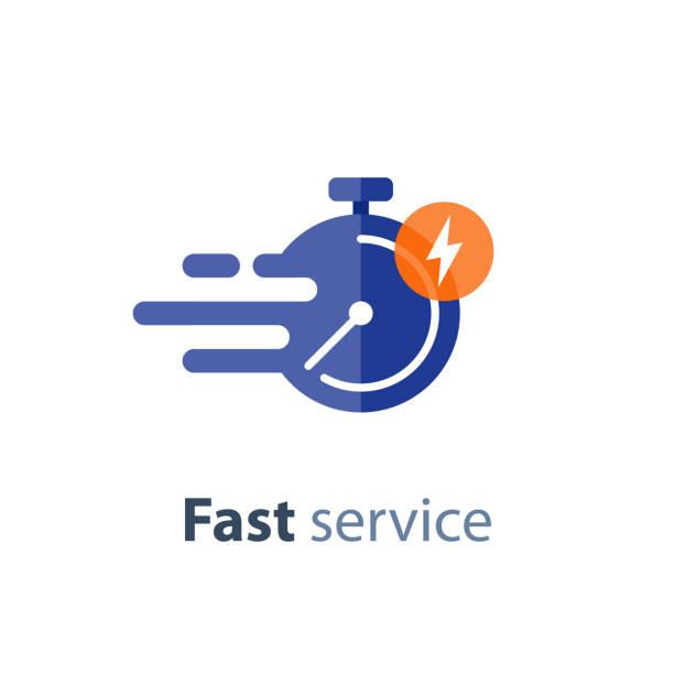 zeitnahen service, schnelle lieferung, zeit, stoppuhr in gang, vektor-symbol - anfang stock-grafiken, -clipart, -cartoons und -symbole