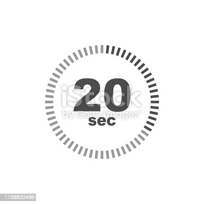 Timer 20 sec icon. Simple design. Vector eps10