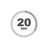 Timer 20 sec icon. Simple design. Vector eps10